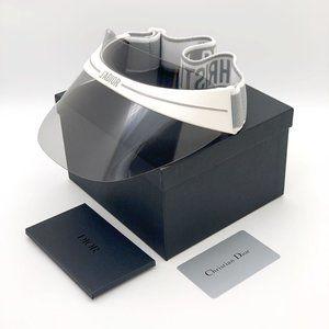 💯 NEW DIOR CLUB 1 HYM White and Gray Visor Hat
